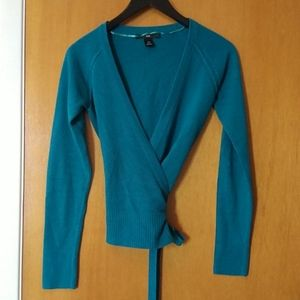 H&M teal wrap sweater, XS